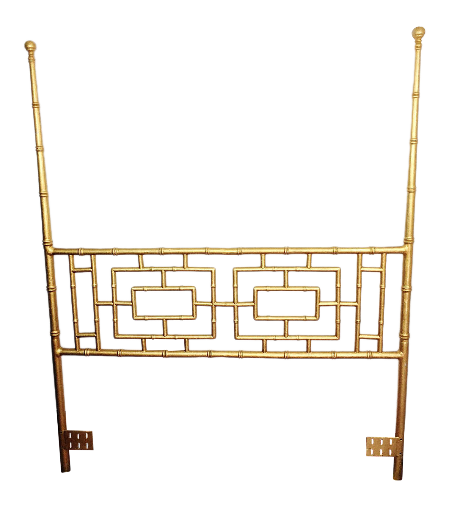 Hollywood Regency Gilded Faux Bamboo High Post Queen Headboard