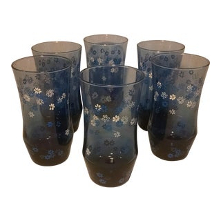 Vintage Libbey Tumblers Apollo Dusky Blue Beverage Glasses - Set of 6