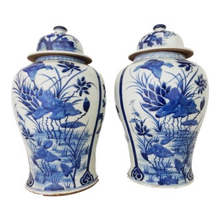 B & W Porcelain Ginger Jars Pair