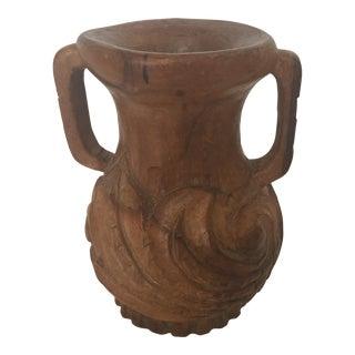 Heavily Carved Wood Vase