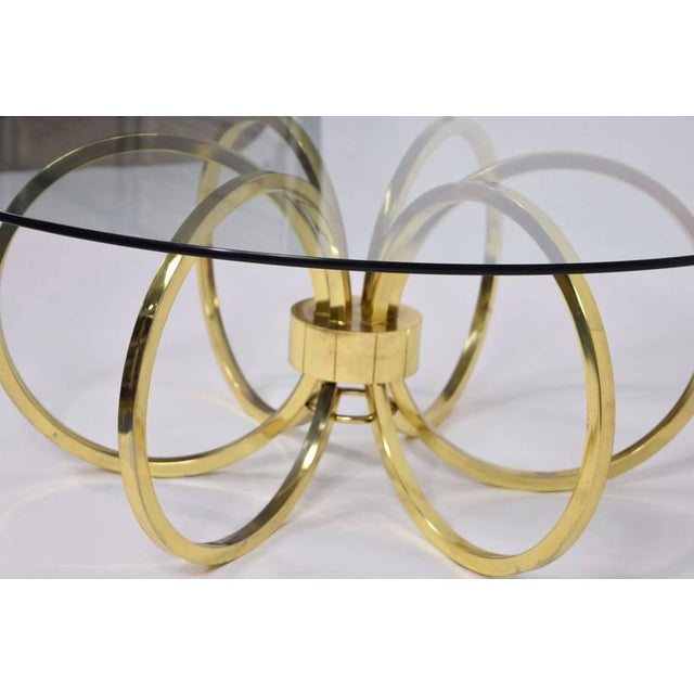 Milo Baughman Style Brass Finish Coffee Table - Image 5 of 6