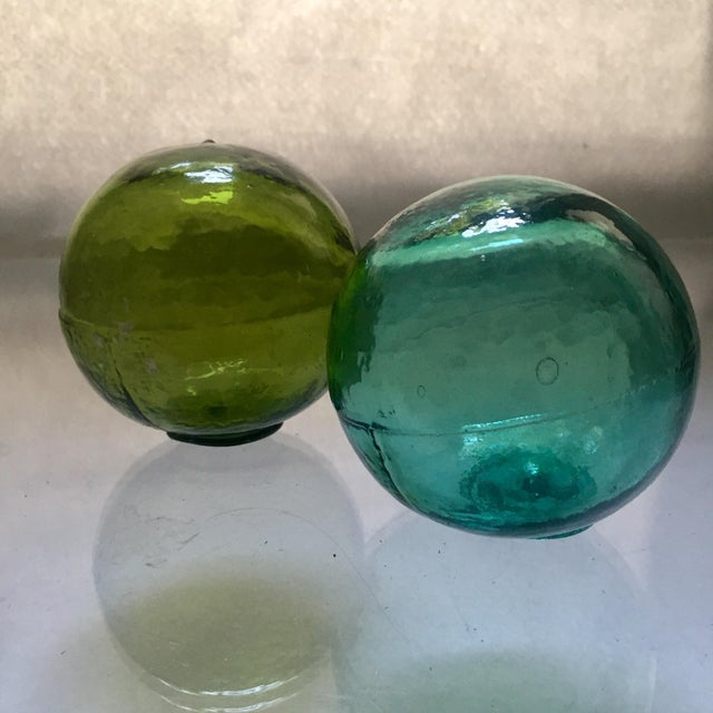 Image of Vintage Hand-Blown Glass Fishing Floats - A Pair