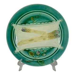 Luneville French Majolica Trompe L'Oeil Napkin Asparagus Plate