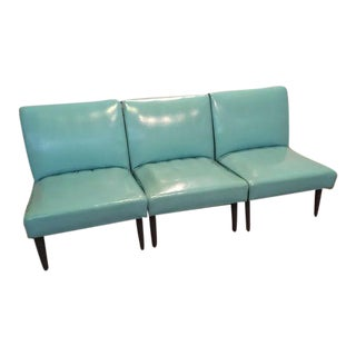 Vintage Turquoise Vinyl Chairs - Set of 3