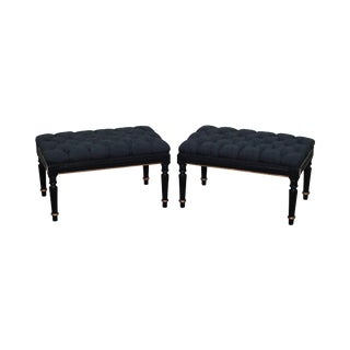 Quality Regency Style Black & Gold Tufted Ottomans - A Pair