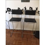 Image of Italian Leather & Chrome Counter Stools - A Pair