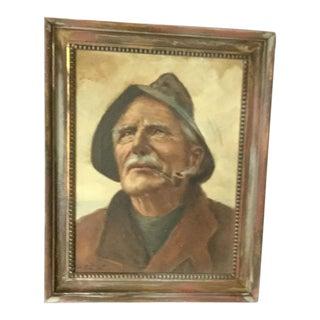 Vintage Old Fisherman Portrait Painting