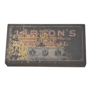 1940s Lipton Tea Advertising Tin Stash Box