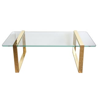 Pace 24 Karat Gold Plated and Glass Rectangle Cocktail Table/Library Table