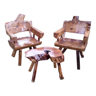 Live Edge Arm Chairs With Table - Set of 3