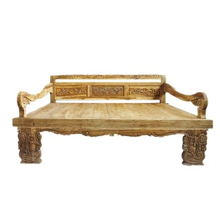 Balinese Carved Teak Daybed