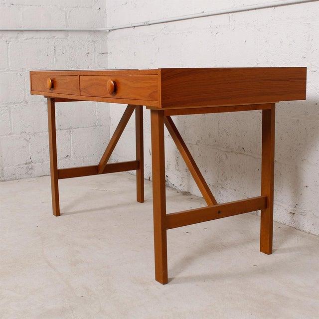 Danish Modern Compact Teak Two Drawer Desk - Image 6 of 6