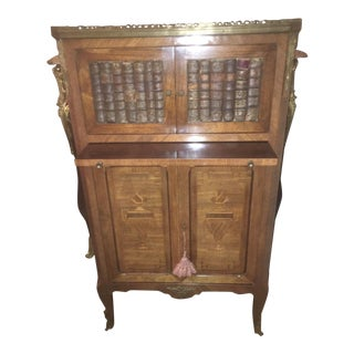 French Marble Top Louis XV Inlaid Leather Book Cabinet