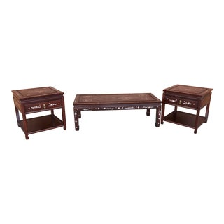 Inlaid Sumptuous Rosewood Coffee & Side Tables - Set of 3