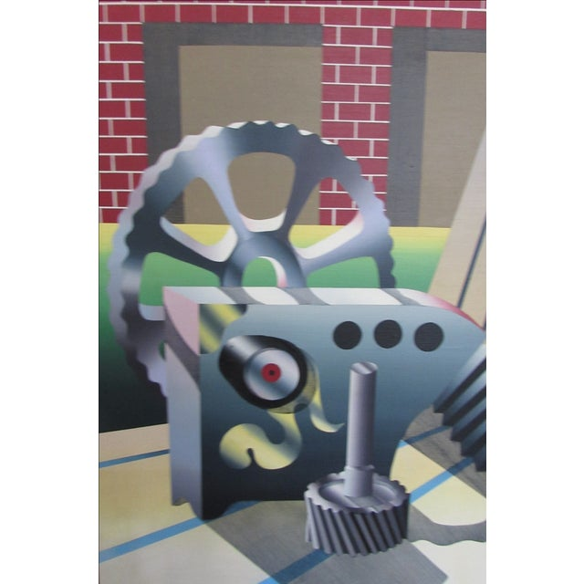 Industrial Age Surrealist Painting - Image 5 of 6