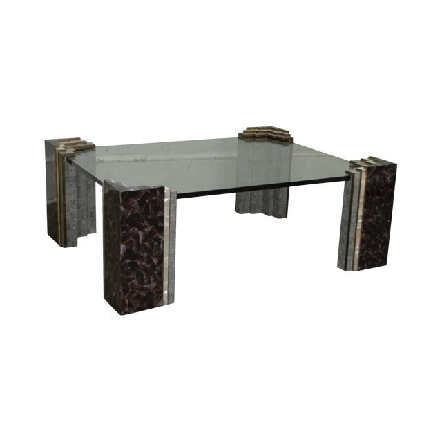 Stone And Glass Coffee Tables: Maitland Smith Tessellated Marble & Stone Glass Top Large