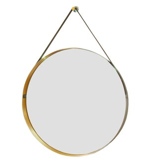 20th Century Italian Brushed Steel Mirror