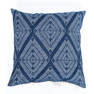 Handwoven Navy Blue Diamond Pillow