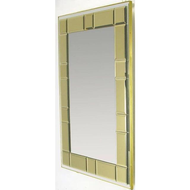 Image of Striking Labarge Wall Mirror with Beveled Smoked Glass Mosaic Border