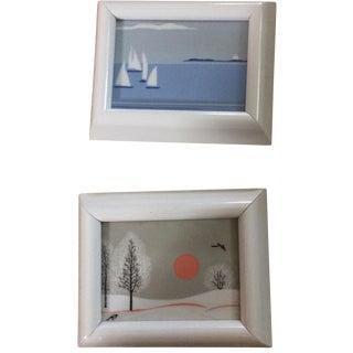 Framed Ceramic Scenes- Set of 2