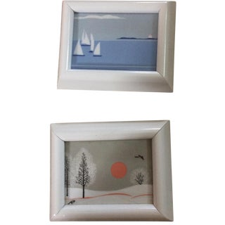 Framed Ceramic Scenes- Set of 2
