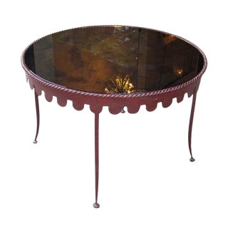 Cocktail Table in Painted Metal with a Distressed Mirrored Top, France circa 1955