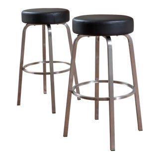 Jeffrey Black Leather Barstool - A Pair