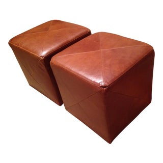 Leather Cube Ottoman - A Pair