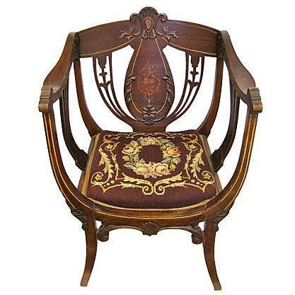 Inlaid Mahogany Armchair - Image 1 of 4