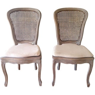 French Country Carved Wood Chairs - A Pair