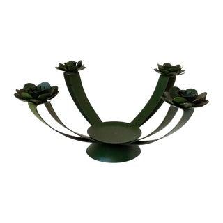 Midcentury Metal Floral Candelabra