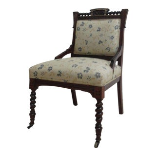 Antique Victorian Carved Walnut Lounge Chair