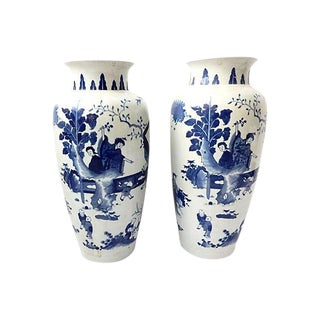 Hand-Painted Blue & White Vases, Pair