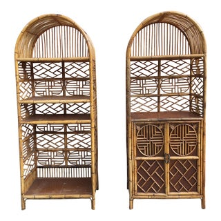 Vintage Bamboo Fretwork Etageres - A Pair