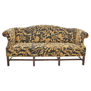 Sheraton Floral Embroidered Camelback Sofa