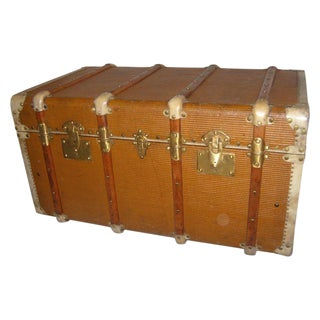 Vintage French Leather Vellum & Brass Trunk