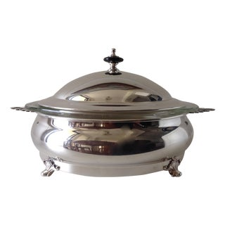 English Silver Plated Covered Chapin Dish