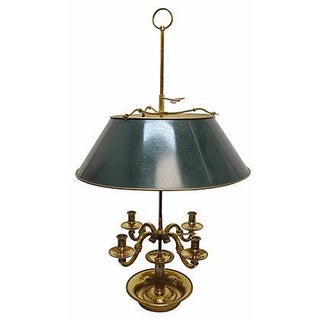 French Brass & Green Tole Bouillotte Lamp