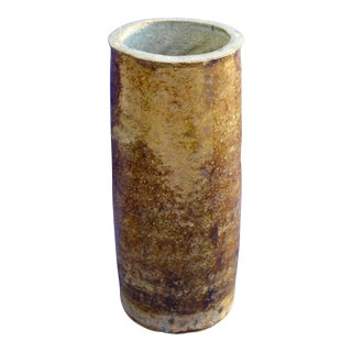 Vintage Hand Thrown Studio Earthy Toned Pottery Cylindrical Vase