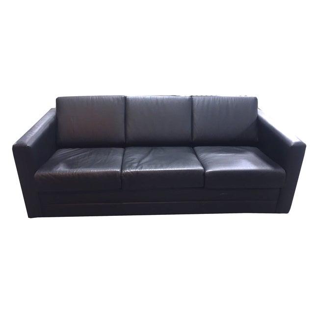 Brayton International Black Leather 3 Seater Sofa - Image 1 of 9