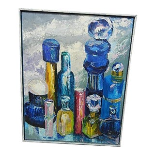 Original Still Life Painting of Collection of Colored Bottles, Signed