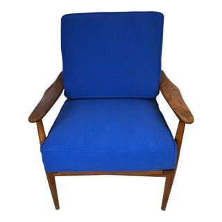 Blue Grete Jalk Style Paddle Armed Lounge Chair