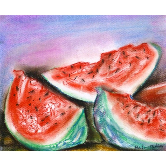 Original Watercolor & Charcoal Watermelon Painting - Image 1 of 3