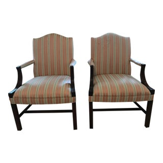 Pink and Green Striped Upholstered Arm Chairs - a Pair