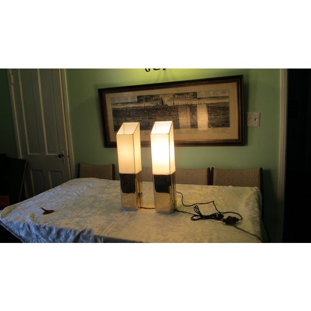 1970s Gold Lame Lamps - A Pair - Image 4 of 7