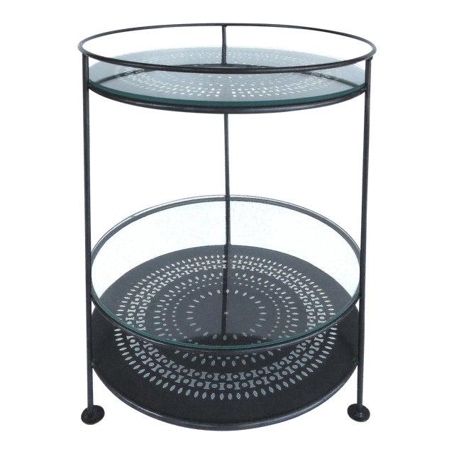 French Enameled Iron Bi-Level Bar Side Table - Image 1 of 6