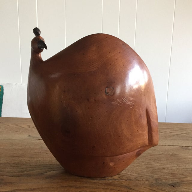 Image of Vintage Mid-Century Wood Rooster Sculpture