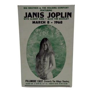 March 8, 1968 Janis Joplin Filmore East Theatre Concert Poster
