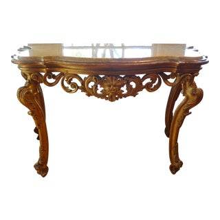 Venetian Louis XIV Giltwood & Marble Top Console