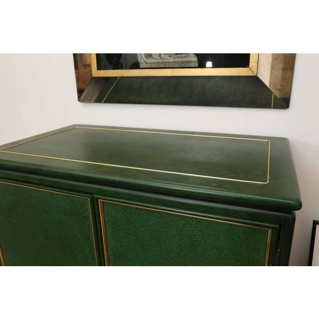 Image of Signed Mastercraft Hollywood Glam Lacquered Brass and Emerald Leather Cabinet